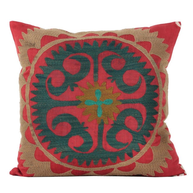 Vintage Cotton Embroidered Bolinpush Pillow - Image 1 of 5