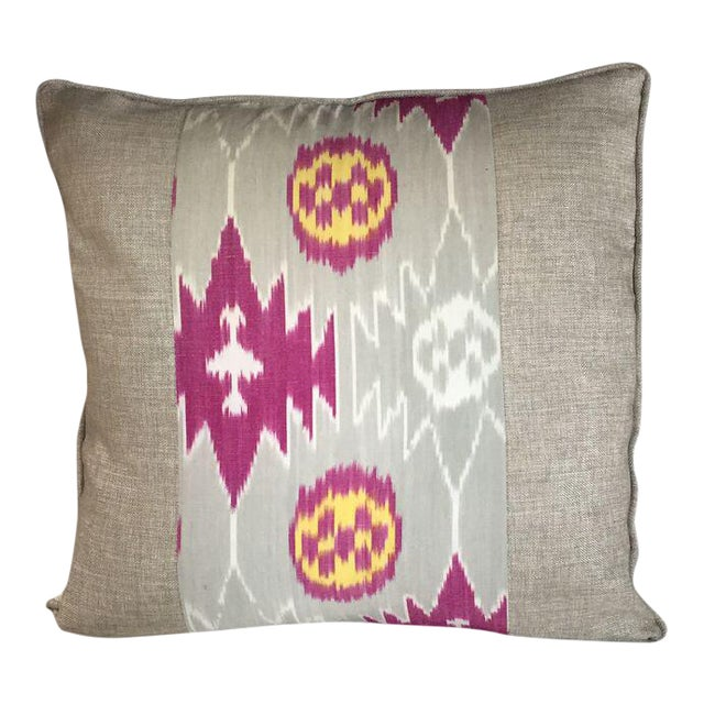 Kim Salmela Magenta and Gray Patchwork Pillow For Sale