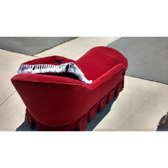 Antique Red Velvet Chaise Lounge - Image 4 of 4