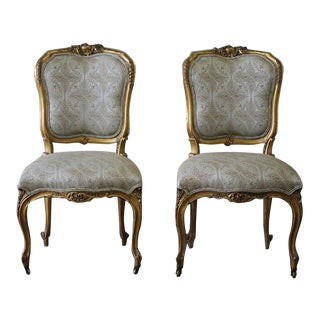 19th Century Louis XV Carved & Upholstered Giltwood Chairs - A Pair For Sale