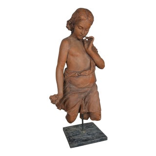 1930s Vintage French Terracotta Woman Statue For Sale