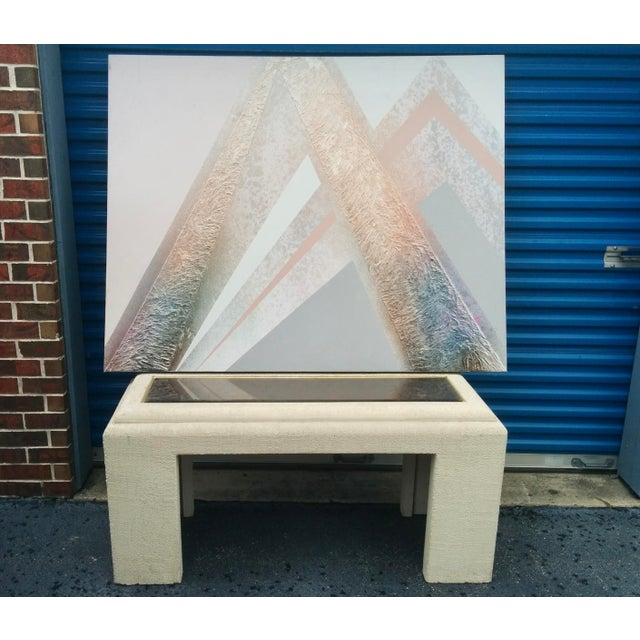 Faux Stone Console Table with Mirrored Top - Image 5 of 11