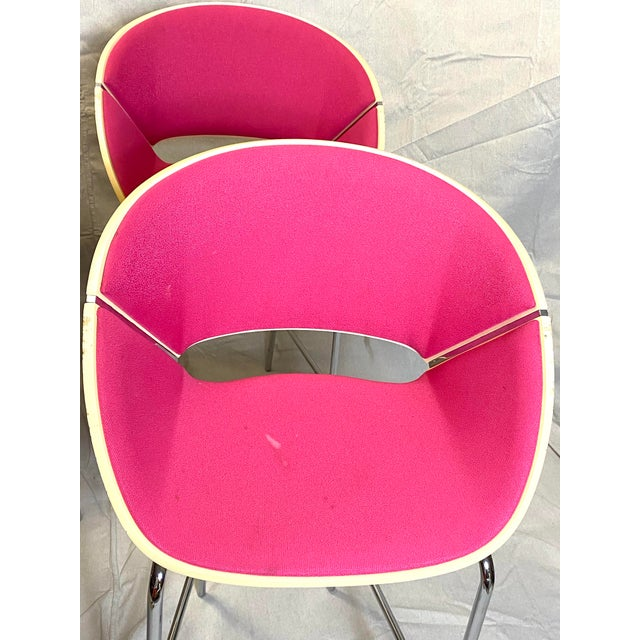 Modern Set of 4 Heavy Duty Chic Pink Fabric Bar Counter Stools Wood Back For Sale - Image 3 of 9