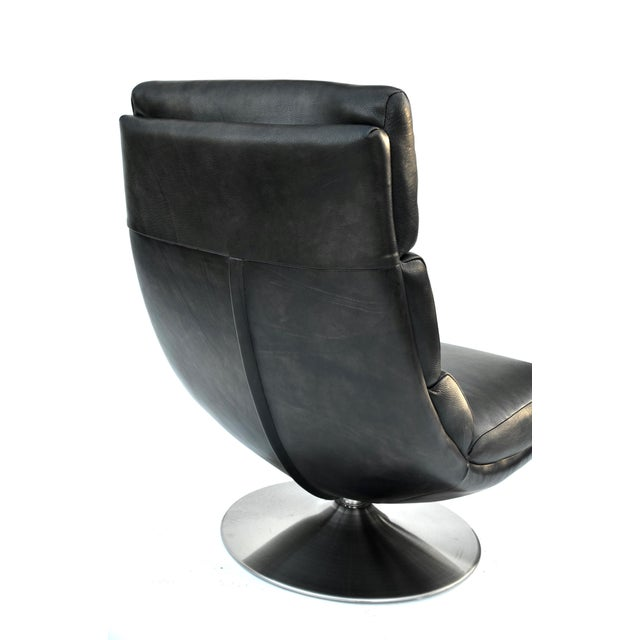 Animal Skin Italian Leather Chair and Ottoman For Sale - Image 7 of 8