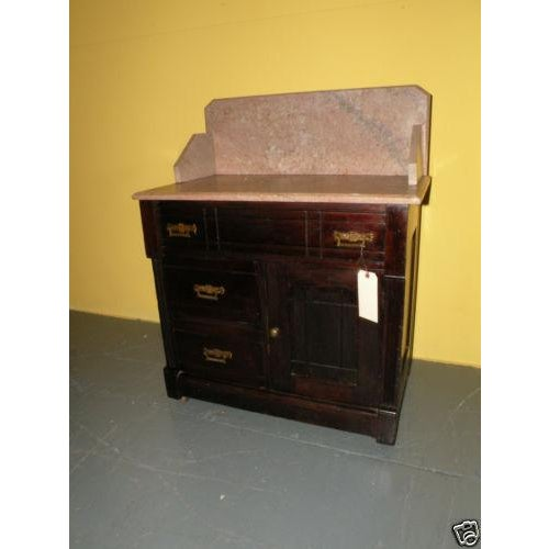 Antique Eastlake Style Marble Top Dry Sink Table - Image 2 of 9