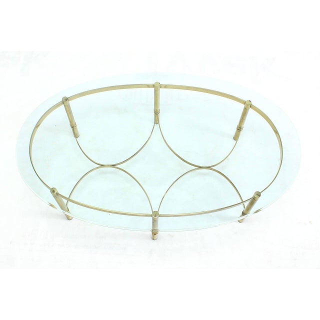 Oval Brass and Glass Coffee Table For Sale - Image 4 of 7