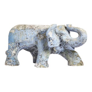 Cast Constituted Stone Elephant Table With Original Vintage Decoration For Sale