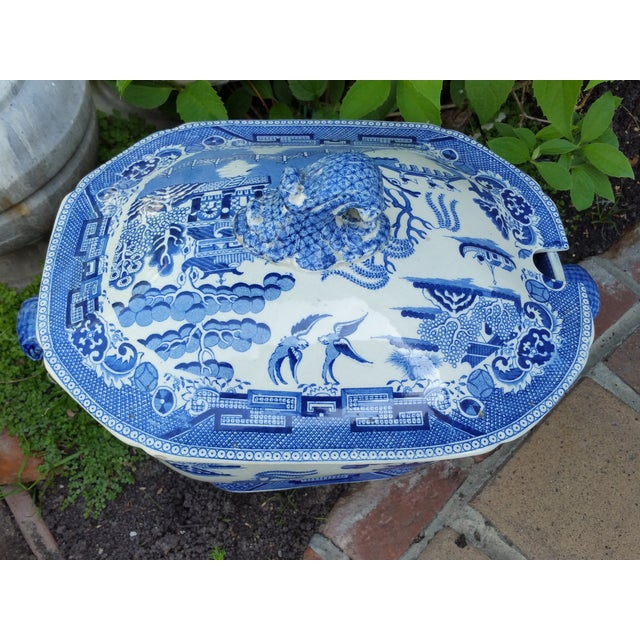 Antique English Victorian Blue & White Soup Tureen - Image 4 of 6