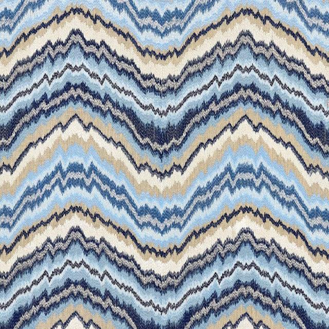 Transitional Scalamandre Bergamo Embroidery Fabric in Indigo Sample For Sale - Image 3 of 3