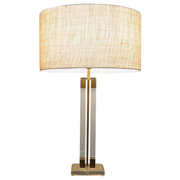 Mid-Century Modern Lucite & Brass Table Lamp, Attributed to Charles Hollis Jones For Sale - Image 3 of 5