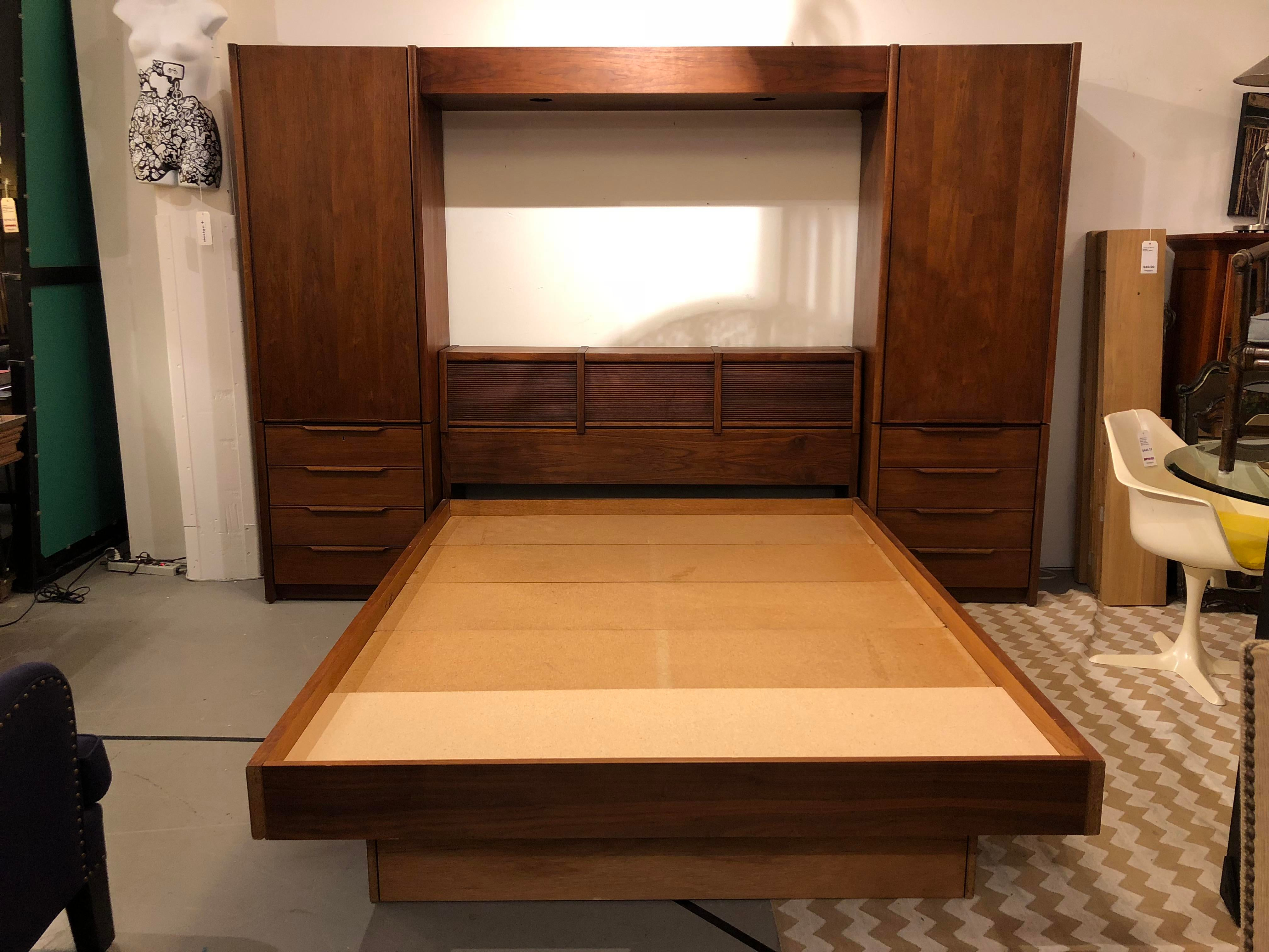 Queen bedroom furniture image11 Cheap Midcentury Modern Barzilay Walnut Queen Bed Frame With Storage For Sale Image 11 Chairish Midcentury Modern Barzilay Walnut Queen Bed Frame With Storage