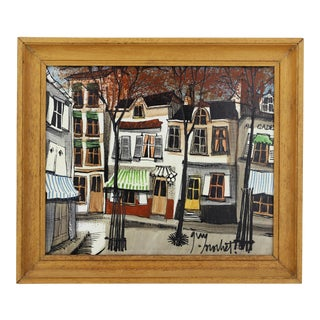 """Late 20th Century """"Montmartre, Paris"""" Oil Painting by G. Nochet, Framed For Sale"""