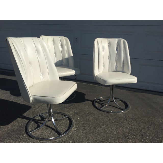 Vintage White Swivel Chairs - Set of 3 - Image 2 of 10