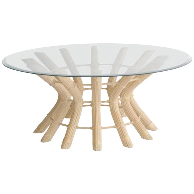Sculptural Midcentury Rattan Cocktail Table For Sale
