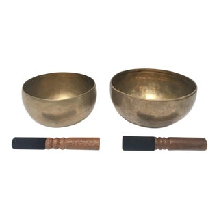 Hand-Hammered Brass Singing Bowls - Set of 2 For Sale