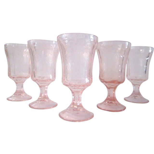 Vintage Blush Pink Madrid Goblets - Set of 5 - Image 1 of 6