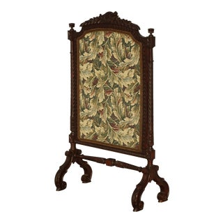 Vintage French Provincial Ornately Carved W Floral Tapestry Fireplace Screen Decor For Sale