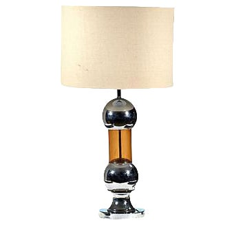 1970s Chrome & Amber Table Lamp - Image 1 of 4