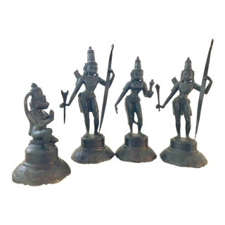 "Indian Brass Bronze 6"" Metal Rama Sita Hanuman Ramayana Vishnu Black Statue Set of 4 Antique Vintage For Sale"