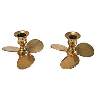 Vintage Brass Propeller Candleholders