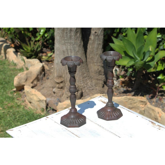 Antique Victorian Cast Iron Floral Candleholders - a Pair For Sale - Image 13 of 13