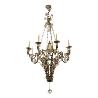 Wrought Iron & Crystal Floral Chandelier