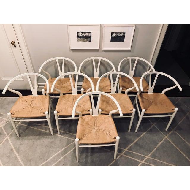 Hans Wegner White Wishbone Chairs - Set of 6 For Sale - Image 11 of 11