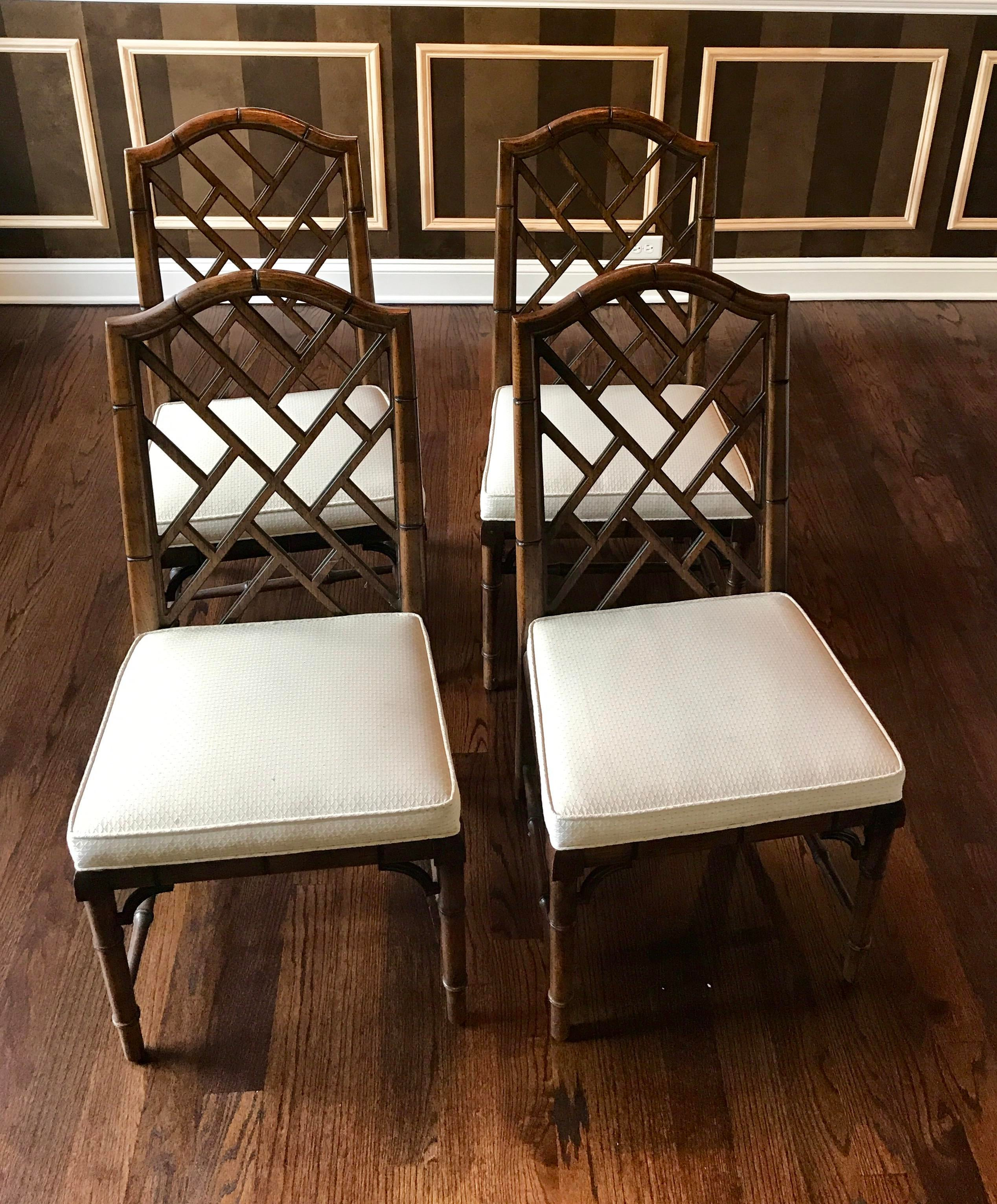 bamboo dining chairs. Set Of Four Incredible Vintage Chinese Chippendale Faux Bamboo Fret Dining Chairs By Century Furniture (