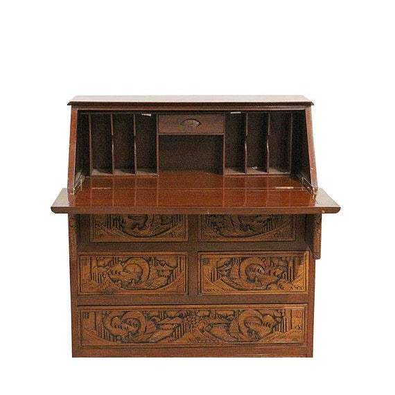 Vintage Hand Carved Chinese Desk W/Drop Down Front - Image 2 of 5
