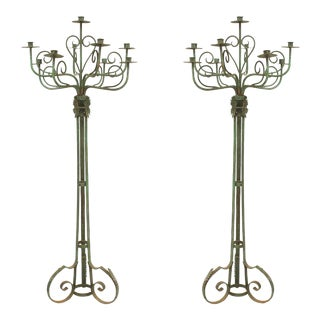 English Renaissance Patinated Wrought Iron Floor Torchieres - a Pair For Sale