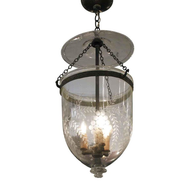 etched clear glass bell jar pendant light chairish