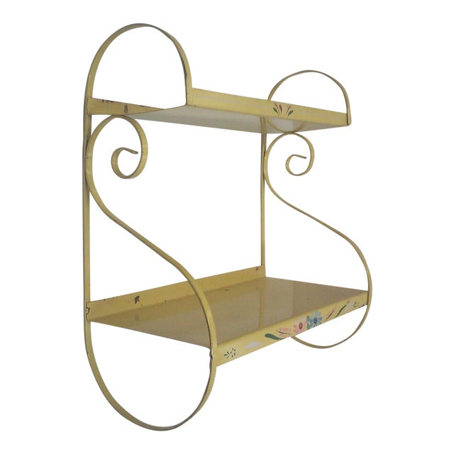 Vintage Hand Painted Yellow Wall Shelf - Image 1 of 6