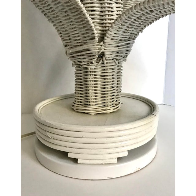 Mario Lopez Torres Vintage Wicker Rattan Leafed Lamps - a Pair For Sale - Image 4 of 11