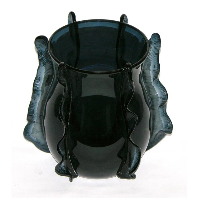 Contemporary Formia 2009 Italian Pair of Organic Avio Blue Murano Glass Modern Vases For Sale - Image 3 of 9