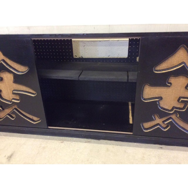 Unusual Black Lacquer Asian Style Media Credenza Console For Sale - Image 10 of 11