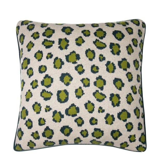 Leopard Cashmere Pillow, Green For Sale