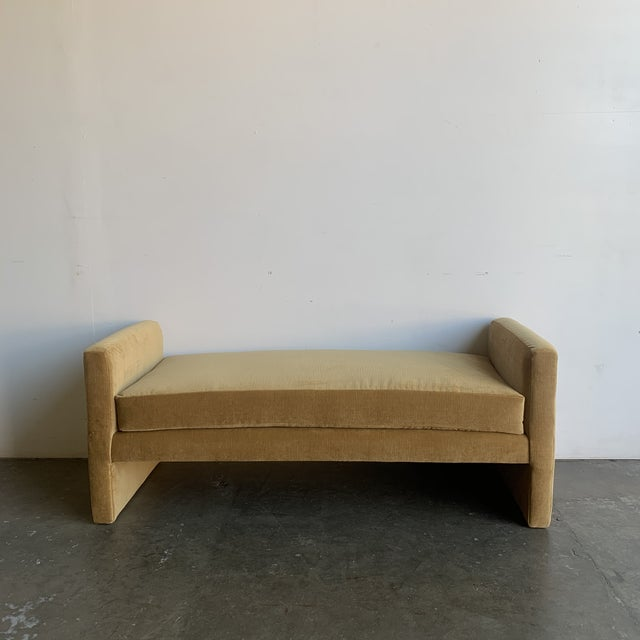 Modern Post Modern Bench- Mustard For Sale - Image 3 of 13
