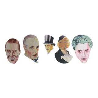 1930s Hand-Painted Theater Display Actor Portraits - Set of 5 For Sale