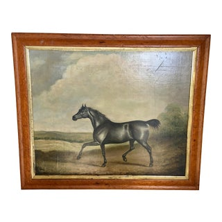 19th C. Black Stallion Painting ~ Oil on Canvas For Sale