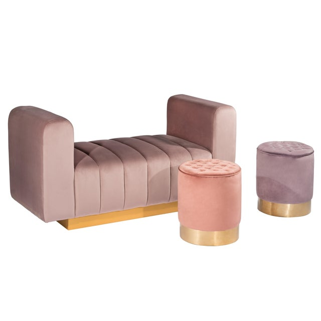 Modern Paulette Mauve and Gold Tufted Stools- A Pair For Sale - Image 4 of 5