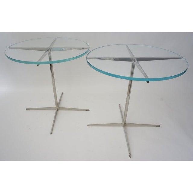 Vintage Drinks or Side Tables Glass on Polished Steel Pedestal - a Pair For Sale - Image 9 of 12