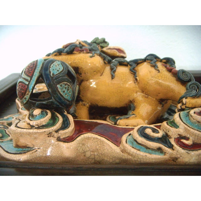 Framed Antique Chinese Ceramic Tile - Foo Dog/Lion For Sale - Image 5 of 10