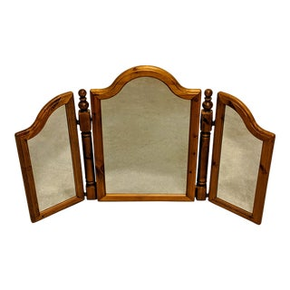 A Lovely Gift : A Vintage Classic Ducal Wood Frame Tri Fold Mirror For Sale