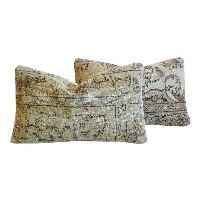 """Antique Soumak Carpet Wool Feather/Down Pillows 26"""" X 16"""" - Pair For Sale"""