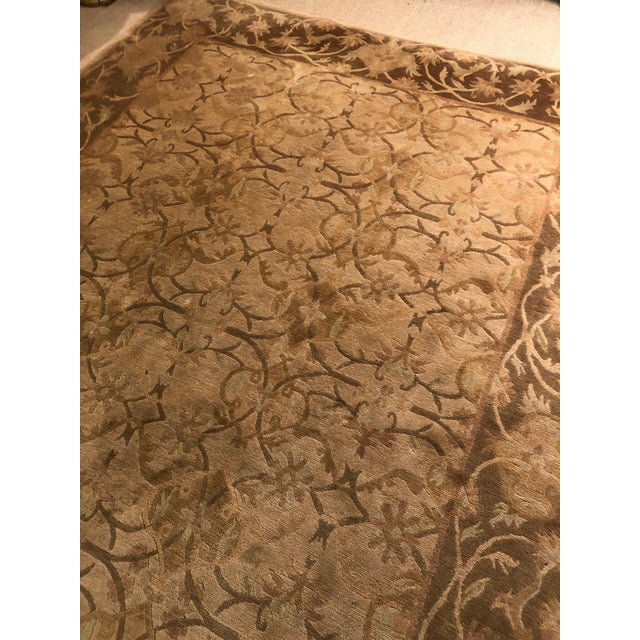 Neutral Luxurious Silk Tibetan Area Rug- 6′2″ × 8′11″ For Sale In Philadelphia - Image 6 of 10
