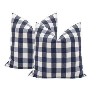 """22"""" Navy Blue Buffalo Check Pillows - a Pair For Sale"""