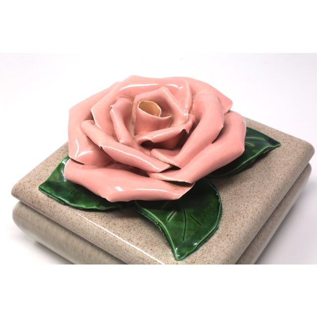 Ceramic Gorgeous 1971 Chanel Inspired Camellia Ceramic Square Lidded Dish For Sale - Image 7 of 11