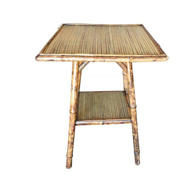 Tiger Bamboo Pedestal Side Table with Slat Bamboo Top - Image 3 of 6