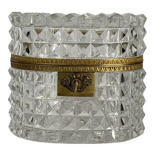 Mid 20th Century Bacarrat Diamond Cut Crystal Dresser Box with Key For Sale