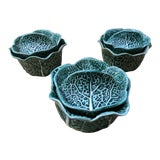 Image of Vintage Secla Majolica Green Cabbage Covered Soup Bowls - Set of 3 For Sale